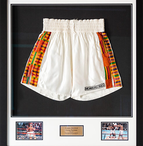 Trunks worn by Holyfield vs. Foreman